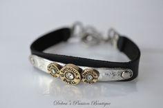 Shotgun Shell Leather Bracelet Black