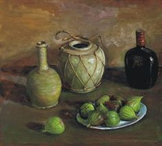 Margaret Hannah Olley 'Figs and Ginger Jar', 1982 Australian Painters, Australian Artists, Visual And Performing Arts, Fruit Painting, Shape And Form, Ginger Jars, Old Master, Henri Matisse, Figs