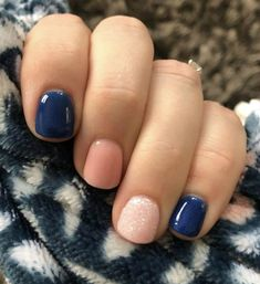 The advantage of the gel is that it allows you to enjoy your French manicure for a long time. There are four different ways to make a French manicure on gel nails. The choice depends on the experience of the nail stylist… Continue Reading → Shellac Nails, Diy Nails, Glitter Nails, Blue Gel Nails, Shellac Nail Designs, Navy Blue Nails, Oval Nails, Blue Glitter, Blue Nails