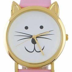 Fashion Leather Cat Ear Leopard Women Quartz Wrist Watch - US$4.13