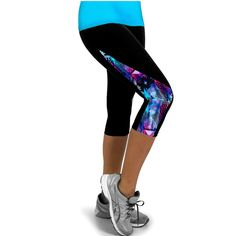 Elastic Fitness Tights Women Three Quarter Length Pants Gym Sports Yoga Leggings Running Pants Compression Workout free shipping
