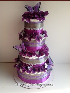 PURPLE BUTTERFLY 4tier Diapercake
