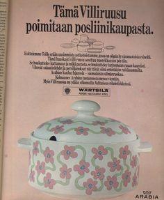 ARABIA FINLAND, villiruusu 1969 Nordic Design, Vintage Ads, Finland, Aquarium, Nostalgia, Posters, Kitchen, Fish Stand, Cucina