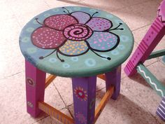 Whimsical Painted Furniture, Hand Painted Chairs, Painted Baskets, Painted Stools, Art Deco Furniture, Hand Painted Furniture, Paint Furniture, Repurposed Furniture, Mosaic Diy