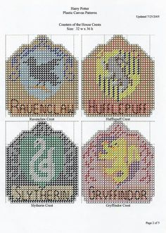 Harry Potter coasters Plastic Canvas Coasters, Plastic Canvas Ornaments, Plastic Canvas Crafts, Plastic Canvas Patterns, Cross Stitch Harry Potter, Harry Potter Crochet, Cross Stitch Designs, Cross Stitch Patterns, Cross Stitching