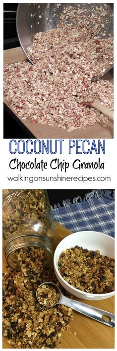 Coconut Pecan Chocolate Chip Granola Recipe - Walking on Sunshine Recipes.