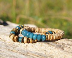 "Set of 2 Bohemian Bracelets ""Autumn Lake"", Unisex Boho Chic Hippie Gypsy Beach Bracelets, Jade Wood Beaded Bracelets, Mens Womens Bracelet"