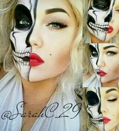 We all know that a skeleton or skull makeup is an absolute classic and timeless Halloween favourite. And with all the amazingly talented mak. Halloween 2014, Scary Halloween, Halloween Make Up, Halloween Themes, Halloween Costumes, Halloween Party, Halloween Inspo, Clown Makeup, Scary Makeup