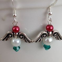 Delicate Tierracast Angel Wings Red White Green Handmade for Christmas
