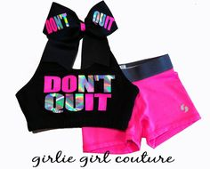 """Neon & Rainbow Metallic """"DON'T QUIT"""" Set - Includes Sports Bra, Shorts and Bow"""