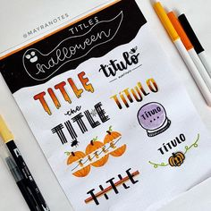 Trick or treat? Trick or treat? Trick or treat? Trick or treat? Bullet Journal Titles, Journal Fonts, Bullet Journal Notebook, Bullet Journal Aesthetic, Bullet Journal School, Bullet Journal Inspiration, Daily Journal, Hand Lettering Fonts, Lettering Tutorial