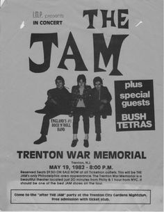 The Jam - New Jersey, United States 1982 Rock Posters, Music Posters, Concert Posters, The Style Council, Music Flyer, Paul Weller, Rock News, Psychobilly, Special Guest