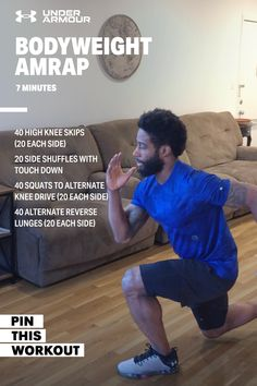 7 Minute AMRAP Bodyweight Workout At Home Workout Plan, At Home Workouts, Workout Plans, Fitness Goals, Fitness Motivation, Amrap Workout, Health And Wellness, Health Fitness, Pumping Iron