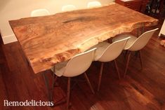 Wish I had a table like this!! ...Our DIY Live / Natural Edge Walnut Slab Dining Table