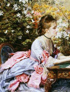 Hearts Are Trumps, Detail. by John Everett Millais (1872)