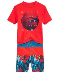 Oshkosh B'Gosh 2-Pc. So Cal Shark Rashguard & Swim Trunks Set, Toddler & Little Boys (2T-6X)