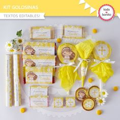 Kit Golosinas Primera Comunión Communion Decorations, Pin On, Baby Gifts, Gift Wrapping, Place Card Holders, Baby Shower, Holiday Decor, Birthday, Baptisms