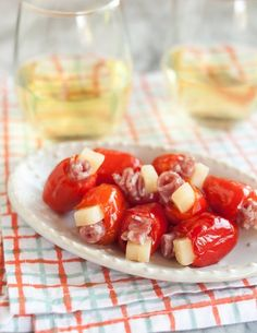 Stuffed Peppadews with Salami & Parmesan