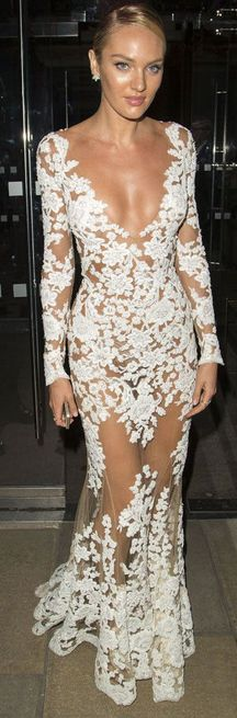 Candice Swanepoel in an all lace dress. This would make a stunning wedding dress.