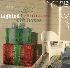 Diy christmas decorations 4 lighted gift boxes pinterest diy outdoor lighted holiday gift boxes aloadofball Image collections