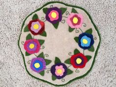 Floral Wool Penny Rug Candle Mat by RDNABoutique on Etsy