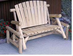 Lakeland Mills Classic White Cedar Log Outdoor Glider Loveseat - Outdoor Gliders at Hayneedle