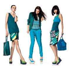 Benetton tonal dressing is seasonal and fun. Take these electric greens, blue hues and purples and work them into a wonderful outfit perfect for the warmer months!