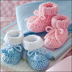 Ravelry: Easy Baby Booties pattern by Estelle Voelker. Published in Crochet World Magazine: June 2010.
