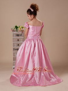 2013 off-the-shoulder taffeta-flower-girl-dress-fashionos.com  cheap little girl…