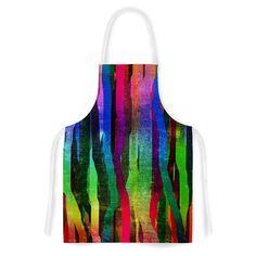 Kess InHouse Frederic Levy-Hadida 'Jungle Stripes II' Black Rainbow Artistic Apron