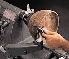 Wooden bowl on lathe