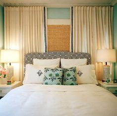 Behind the bed drapes, interesting alternative to a headboard. And gotta love the name of the tumblr account, lol.