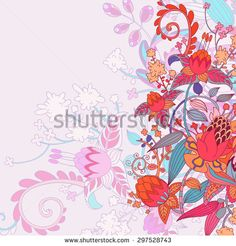 vector hand drawn cartoon floral template, greeting car, vintage colorful frame with place for you text. In white background - stock vector