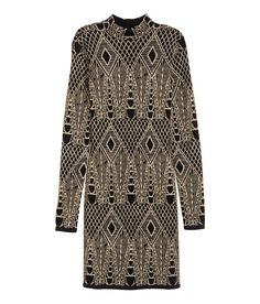 Check this out! Short, jacquard-knit dress with a pattern in glittery thread. Long sleeves, mock turtleneck, cut-out section at back, and buttons at back of neck. - Visit hm.com to see more.