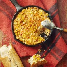 Roasted Corn Cheese Dip recipe served with toasted baguette.