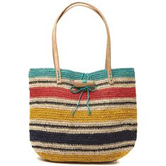 Adelaide Striped Tote - Mar Y Sol - 100% Crocheted raffia with cotton lining and leather handles.