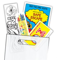 """Have 2 Ways Out KidPak  Full of life-saving information and fun. Kids love them! """"Have 2 Ways Out"""" KidPaks help you promote your department and fire prevention week. Each Kidpak includes a carry bag pre-filled with:    1 - """"Have 2 Ways Out"""" Certificate  1 - """"Have 2 Ways Out"""" Sticker  1 - """"Have 2 Ways Out"""" Pledge Card  1 - """"Have 2 Ways Out"""" Color-Me Bookmark  1 - """"How to Plan for a Safe Escape"""" Activity Book  1 - Pack of 4 Crayons    $1.38"""