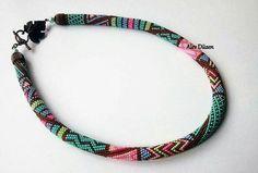 Collana - colori brillanti collana di perline - perline fatti a mano collana - Collana Crochet Bead Crochet