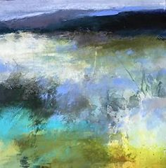 Invitation /abstract landscape by Joan Fullerton Acrylic ~ 16 x 16