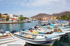 Colorful boats of Bahia de Santa Cruz of Huatulco, the number one ecological sustainable resort in both Americas and the third in the world (Mexico) 2015.04.30