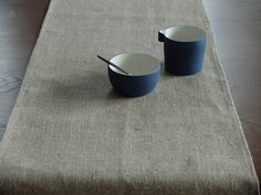 Canvas Cloth and Bowl Cast Ceramics Porcelain and Linen