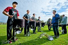 Rehearsal: Marching percussion section of Germany's championship drum corps The Starriders