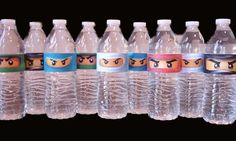 Our Homemade Happiness: Ninjago Birthday Party Ideas with Printables - water bottles