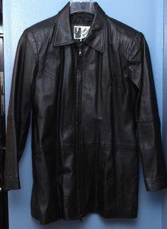 Black Zip Front Leather Lamb Jacket Size L Large #VeneeNewYork #BasicJacket