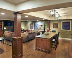 basement idea - like the openness of the kitchen/dining area by the living room