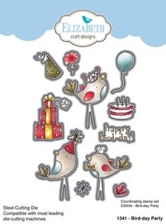 Steel cutting die compatible with all leading die cutting machines Coordinates with - Bird-day Party stamp Elizabeth Craft Designs, Card Making Supplies, Clear Stamps, Design Crafts, Cardmaking, Special Occasion, Paper Crafts, Scrapbook, Bird
