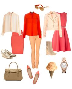 Tonal coral, red, peach, apricot and blush with LIGHT footwear and bag.