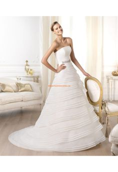 Robe de mariée organza drapé avec ceinture