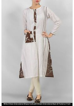WHITE CHIKAN EMBROIDERED STRIPES KURTA WITH BROWN EMBROIDERED BACK & POCKET ON FRONT #women #style #fashion #womenswear #kurti #onlinemela www.onlinemela.pk Order Now: +92-334-333-6352