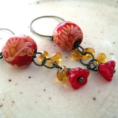 Street Fair Red and Gold Handpainted Wood and Glass Beaded Dangle Earrings by littlebrownbird Bird Jewelry, Jewelry Crafts, Jewlery, Silver Jewelry, Vintage Jewelry, Handmade Jewelry, Jewelry Design, Street Fair, Brown Bird